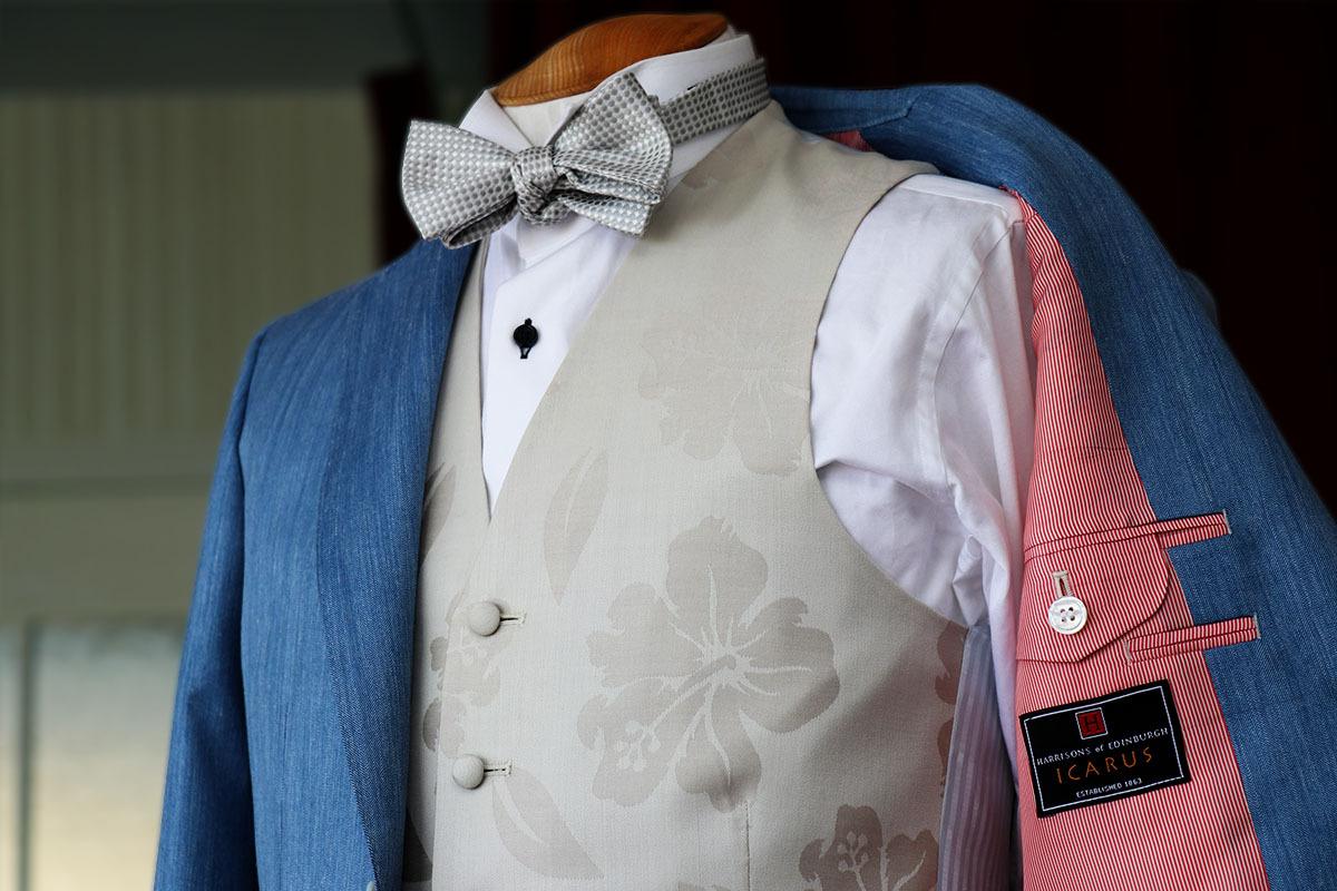 イギリスのシルク生地で作るハワイ挙式新郎衣装