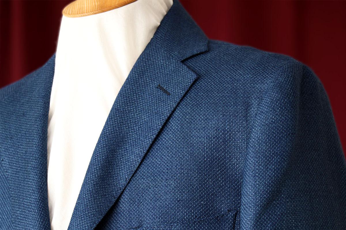 貴重なブルーのシャークスキン生地カルロバルベラのジャケット