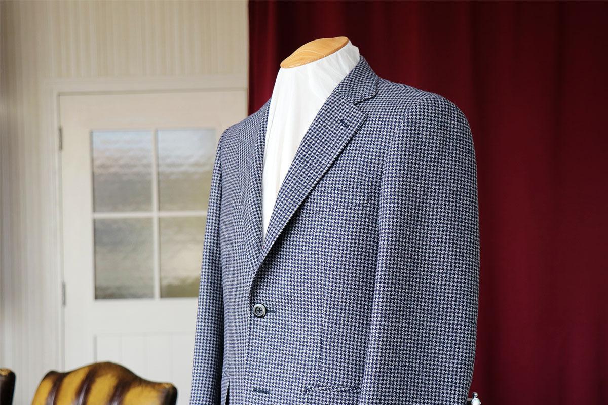 デザインの効いた千鳥格子のジャケット生地